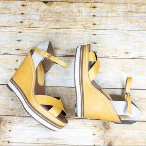 Report Mustard Platform Wedges with Ankle Straps